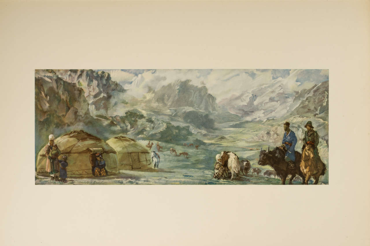 """""""Campement kirghize. Pamyrs."""", lithographie d'Alexandre Iacovleff"""